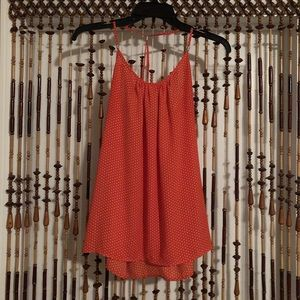 orange and white polka dot tank top blouse